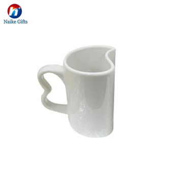 Creative White Heart Shape Handles Mug Cups Ceramic Coffee Couple Mugs