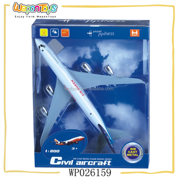 1:200 scale pull back aircraft with music and light alloy model plane for kids