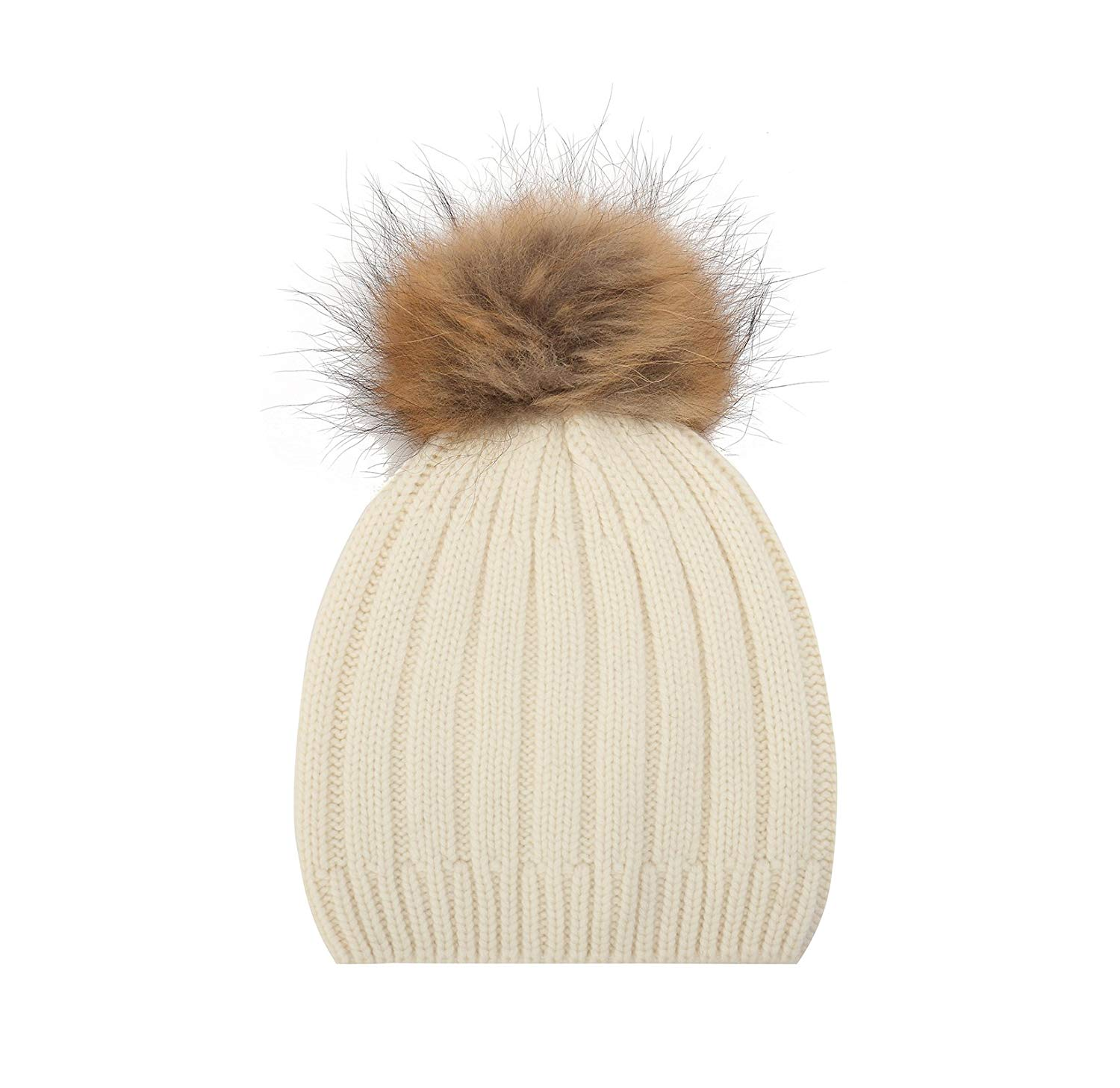 Get Quotations · Miuk 2017 Nre Womens 100% Cashmere Beanie Stretch Cable  Knit Pompon Chunky Hat 0be01138ee5b