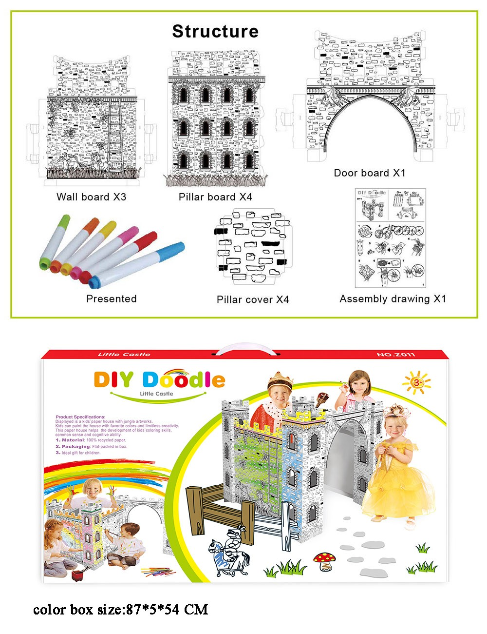 Diy Coloring Foldable Cardboard Castle For Children - Buy Cardboard  Castle,Cardboard Castle For Children,Foldable Cardboard Castle Product on  ...