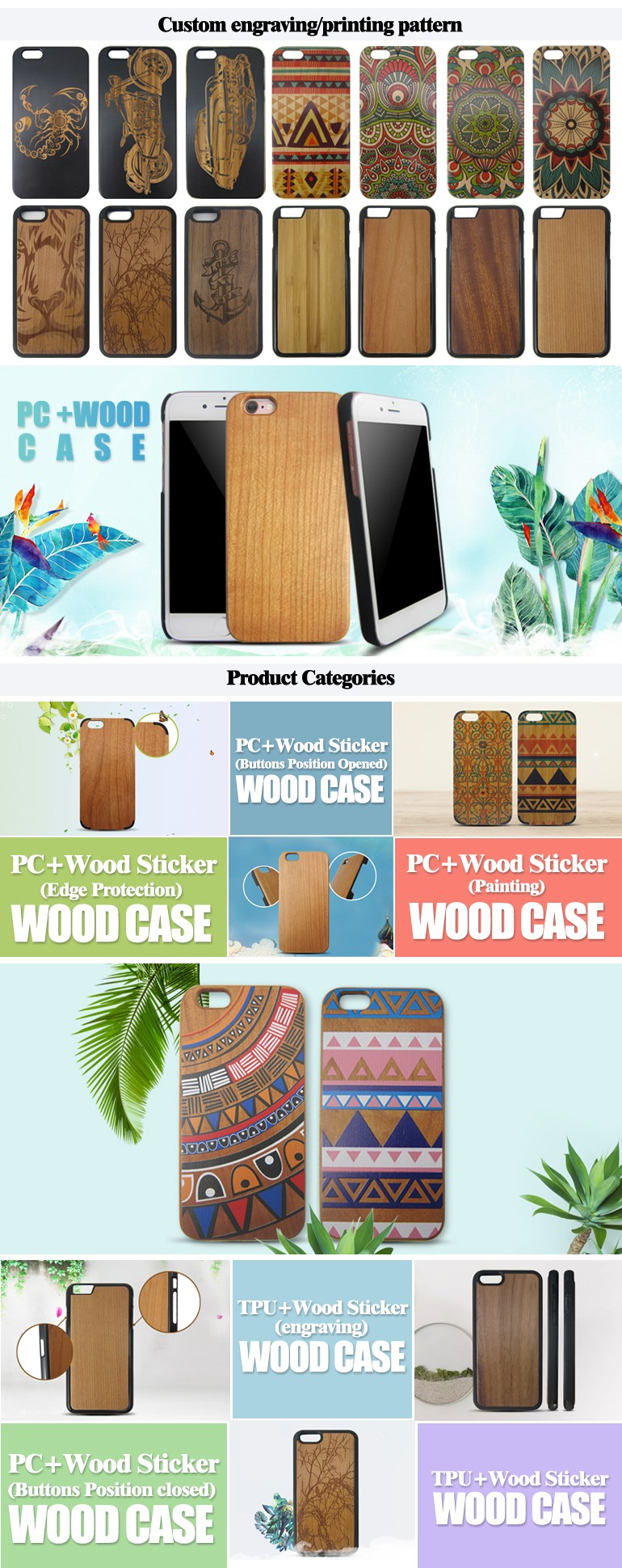 For iPhone TPU PC wooden mobile phone case TPU PC soild wood phone case