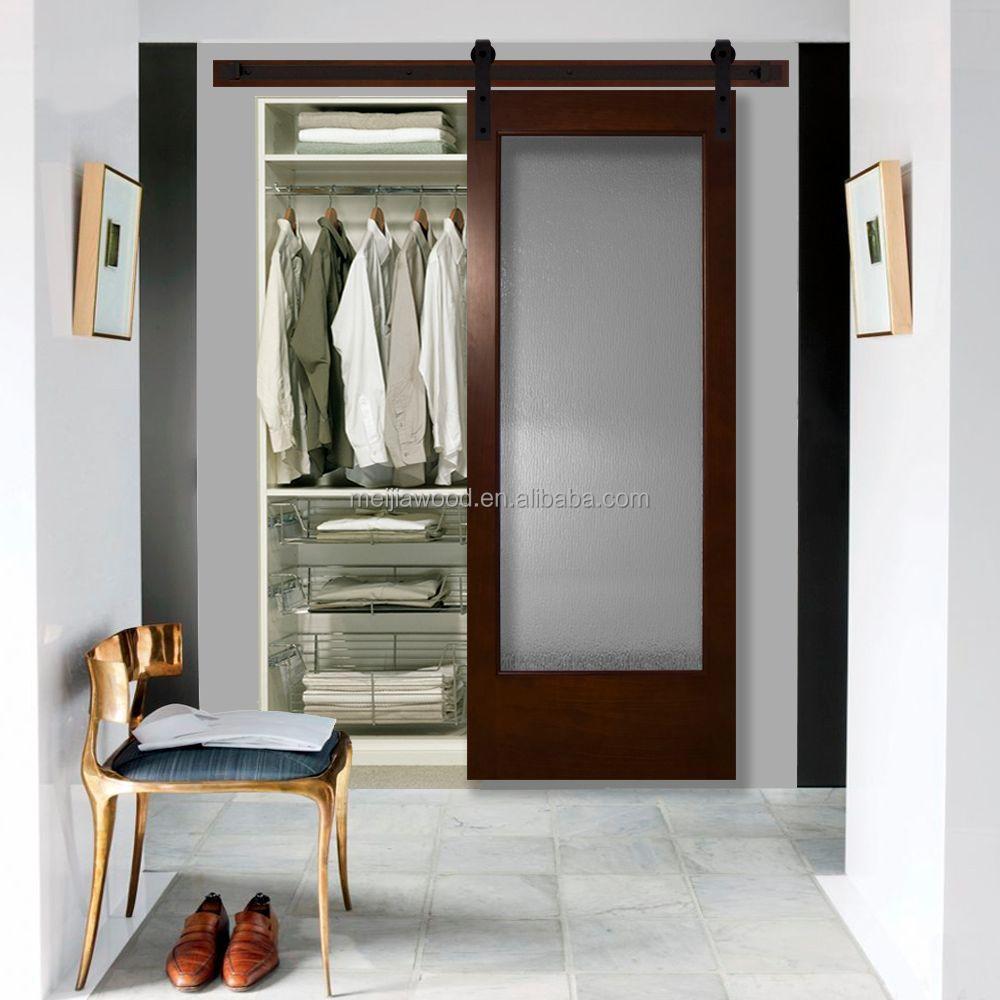 Modern full lite rain glass stained pine interior barn door with sliding door hardware kit