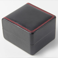 sewing pu leather wooden watch gift box with hinged lids