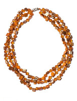 LuReen Fashion Design Energy and Sparkle Clear Orange Faceted Glass Bead and Genunie Shell String 3-Rows Necklace NLC0141