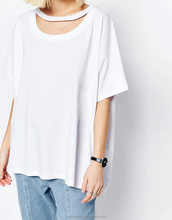 Women organic bamboo cotton bulk wholesale white t-shirt wholesale short sleeves women white oversized t-shirt
