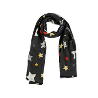 square cashmere scarf lady wholesale wool winter knitted scarf black Multi Colors with star pattern