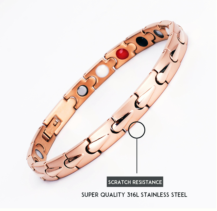 2019 Fashion New Jewelry Titanium Birthday Present Health Women Rose Gold Stand Stainless Steel Magnetic Therapy Energy Bracelet