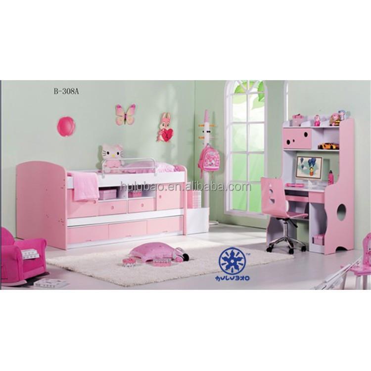 ahorro de espacio de litera cama de color rosa para nia con escritorio ba