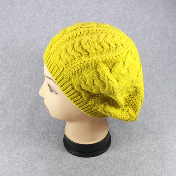 HZM-16307003 China best selling fashion yellow knitted crochet beret