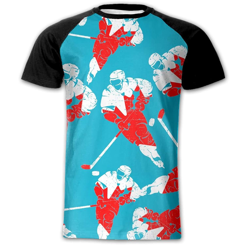 f39774360 Get Quotations · UTzt Shirt Canadian Flag Puck Men Novelty Shirts Front  Print Short Sleeve Raglan Shirts T-