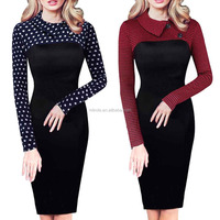 Career Dress Women's Crew Neck Long Sleeve Furcal Hem Dresses Vintage Retro Chic Colorblock Lapel Career Tunic Dress