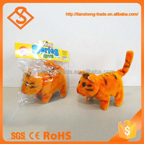 High quality funny walking small plush battery operated toy cat with sound