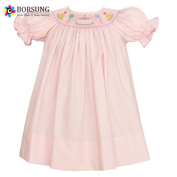 Remarkable Pink Poplin Bishop Dress With Birthday Cake Baby Girls Smocked Funny Birthday Cards Online Barepcheapnameinfo