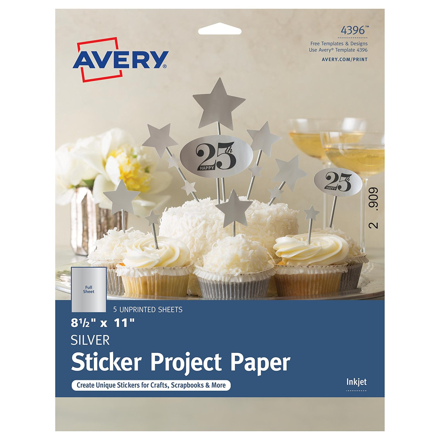 """Avery Silver Full-Sheet Sticker Project Paper, 8-1/2 x 11"""", 5 Sheets (4396)"""