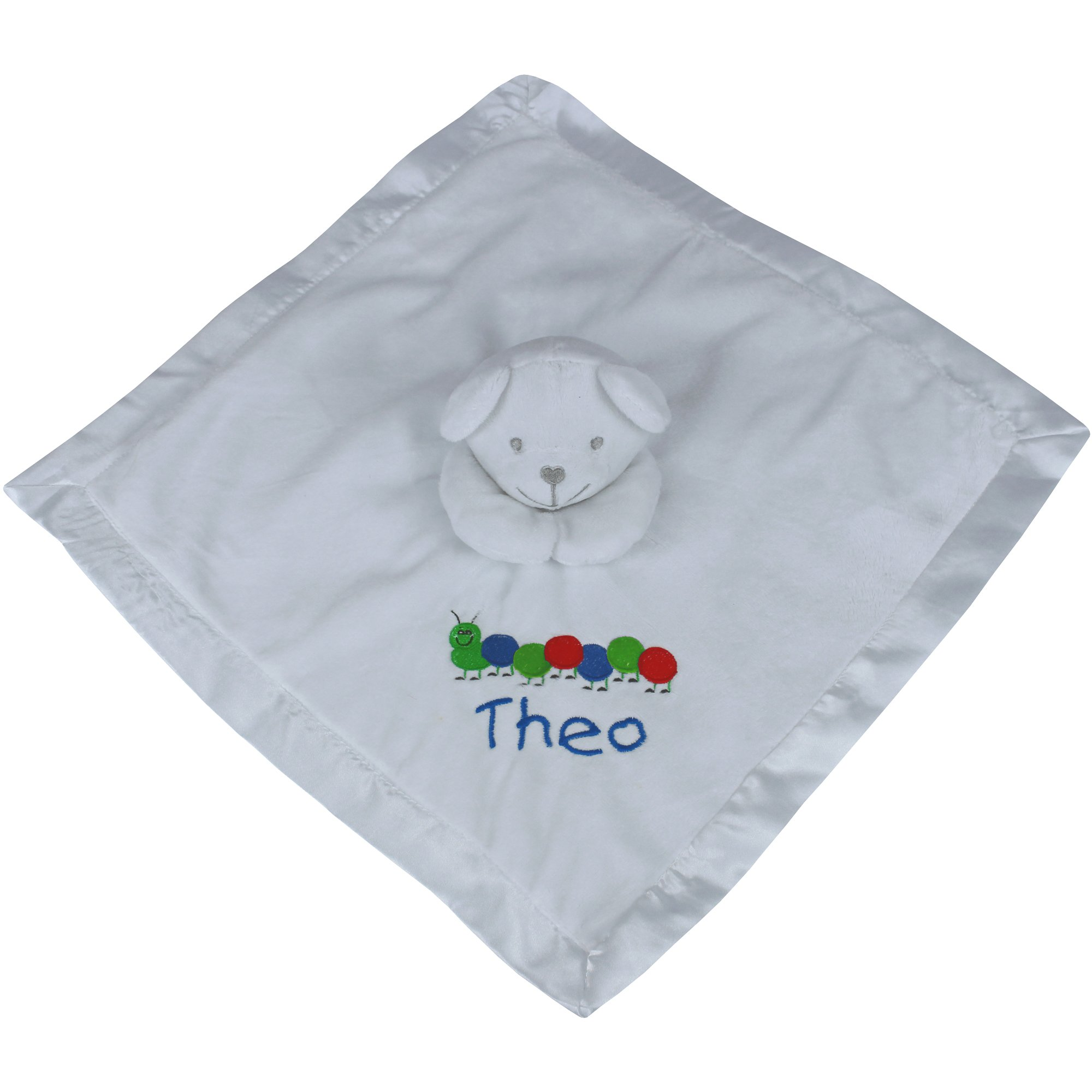 Baby Super Soft Personalised Comforter Blanket with Embroidered Caterpillar and 3D Teddy Bear (Baby Boy Blue)