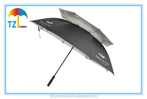60 Inch Boy Double Canopy Golf Umbrella , Black Custom Logo Umbrella