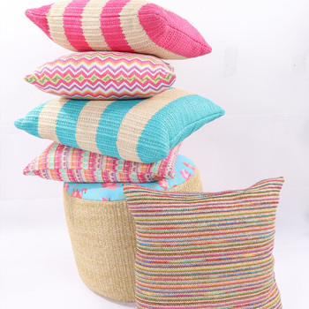 Hot Selling Customized Decorative Colorful Faux Straw Cushion Pillows Outdoor Modern Printed Woven Chair Cushion Buy Cushion Pillow Custom Cheap