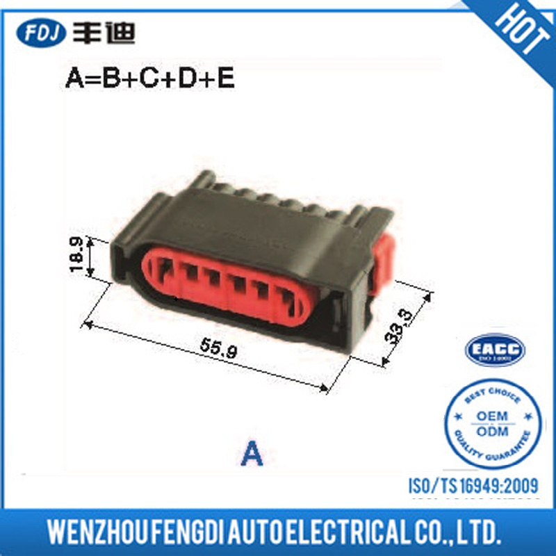 Auto 4 pin RCA waterproof electrical cable connector PBT-GF30
