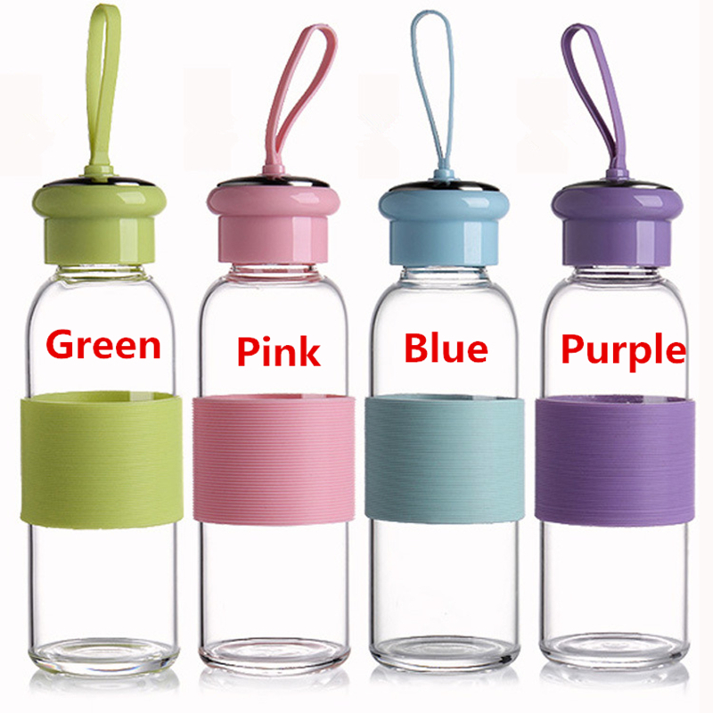 Promo Print logo High borosilicate heat resistant bottle Portable strapless glass