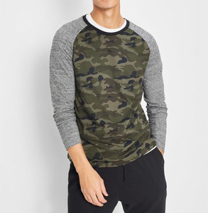 China factory no moq long sleeve t shirt mens camo blank raglan t shirt wholesale