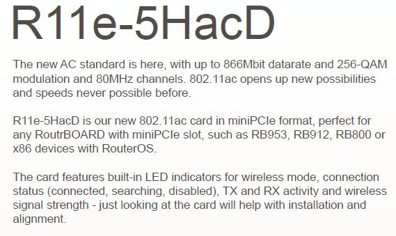 Mikrotik R11e-5hacd 802 11ac High Power Mini Pci-e Card 866mbps - Buy  Mikrotik R11e-5hacd,Mikrotik R11e-5hacd,Mikrotik R11e-5hacd Product on
