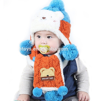 c5ad7cba6 2pcs set New Child Winter Thicken Keep Warm Bear Hats   Scarf Baby ...