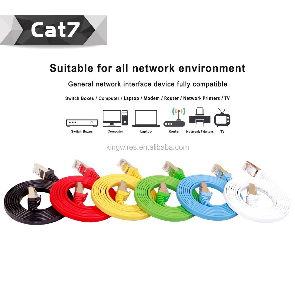 Cavo di Rete Ethernet Treccia di Nylon Placcato Oro RJ45 SSTP CAT7 Patch Cord