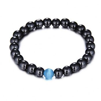 Lancui Cat Eye Jewelry Healing Energy Beads Stretch Bracelets Magnetic Hematite Beads Bracelets