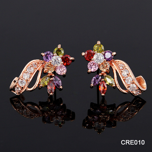 Duoying Real Gold Plating Exquisite AAA Rainbow Zircon Snake Shaped Top Design Earring