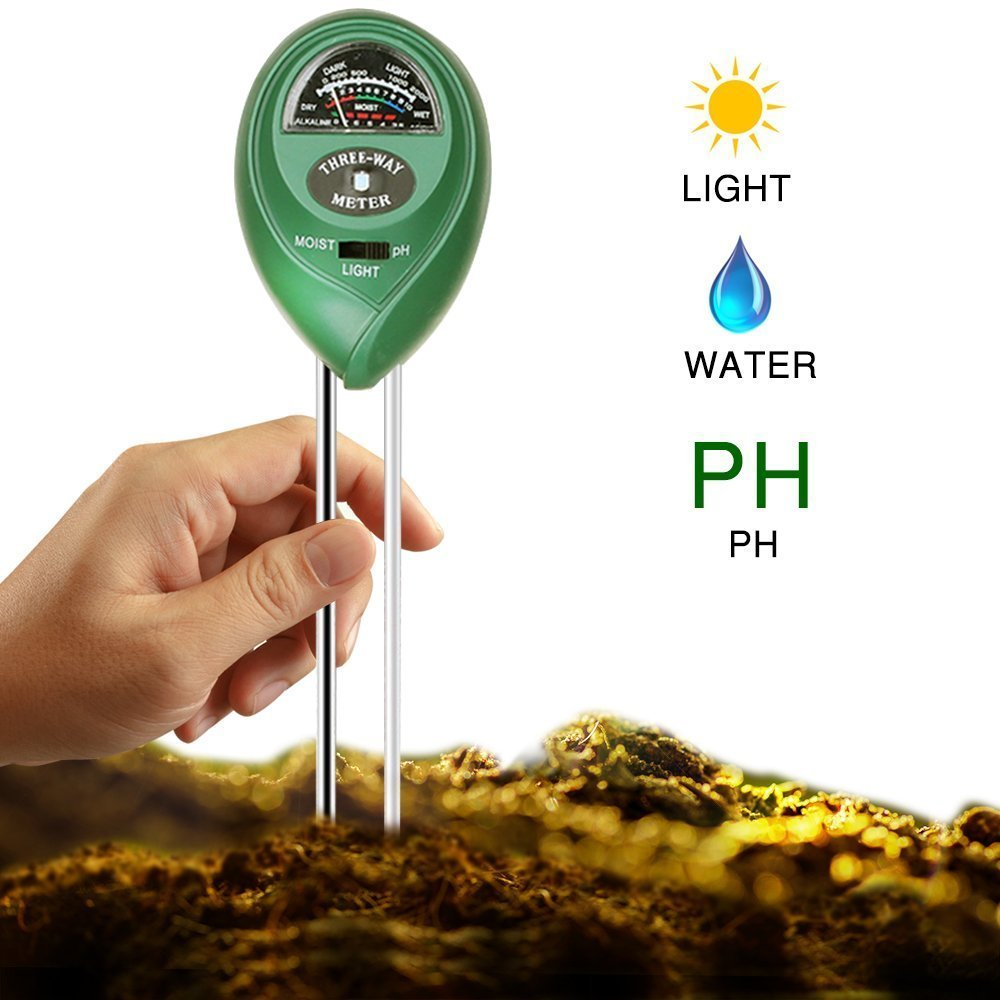 Professional 3 in 1 Soil Tester Kit, PH / Moisture / light Test Meter with Long Probe for Garden, Farm, Lawn, Indoor & Outdoor No Battery Needed