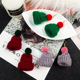 cute little hat hair ball earrings female jewelry accessories cute cheap christmas earring