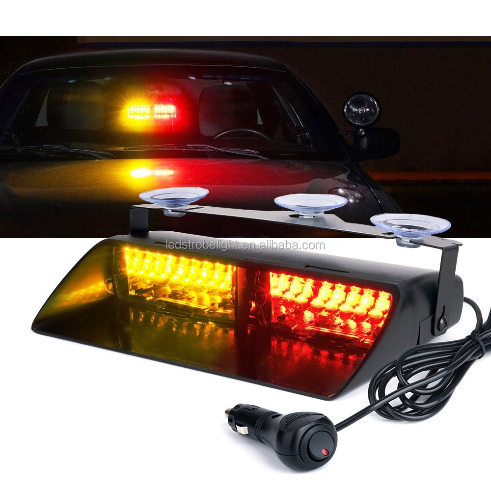 "9"" 16 LED Security Car Lights Amber LED Police Strobe Lights For Interior Roof Dash Windshield With Suction Cups"