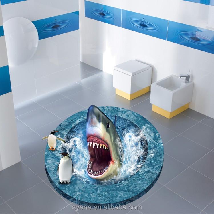 3d cartoon underwater world penguin shark bathroom floor tile stickers  waterproof decorative vinyl floor stickers decoration. 3d Cartoon Underwater World Penguin Shark Bathroom Floor Tile