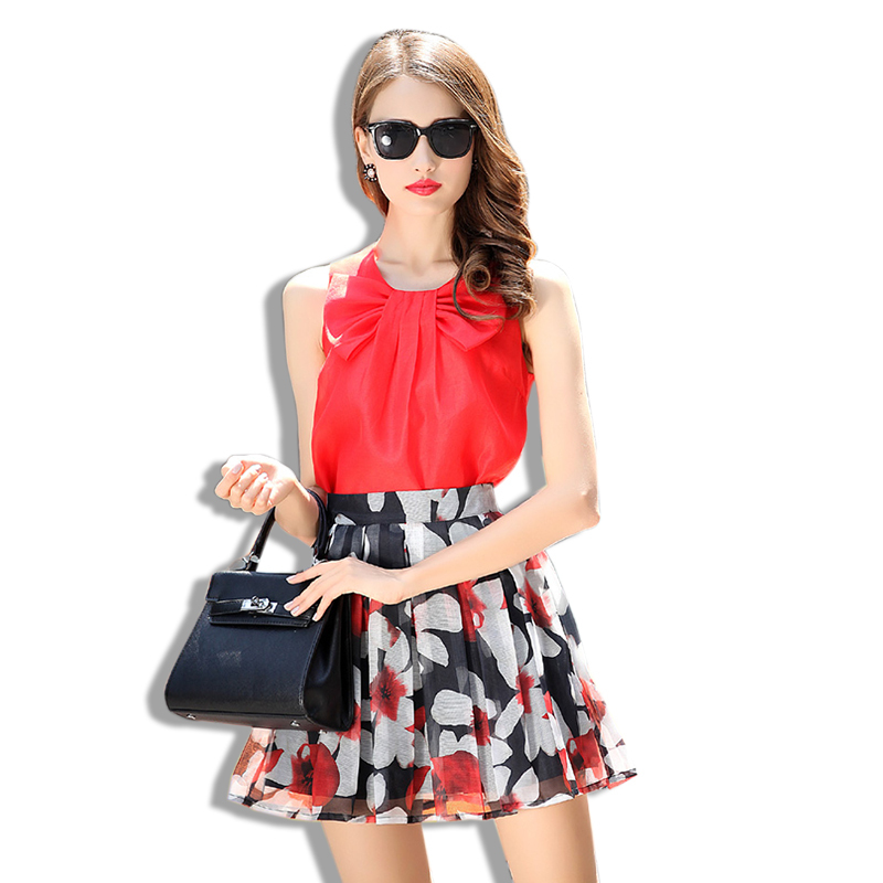 ed1b77561 Get Quotations · 2 Piece Set Women Crop Top And Skirt Set 2015 Summer Bow  Sleeveless Blouse Tee Tops