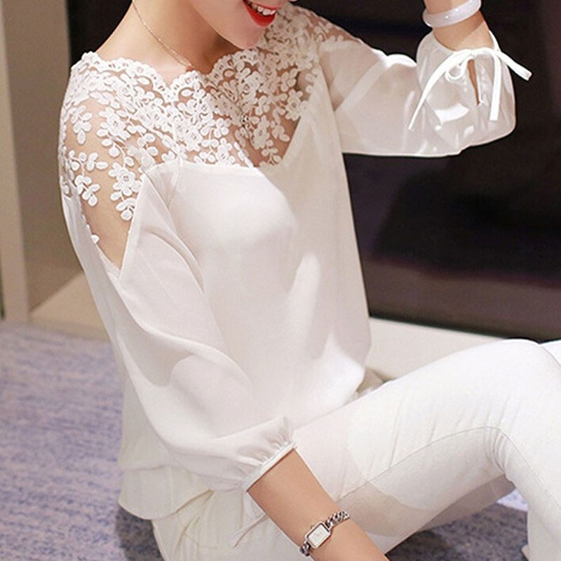 New White Black Women Top Lady <strong>Blouse</strong> Long Sleeve Hollow <strong>Lace</strong> Casual Tops Chiffon <strong>Blouse</strong>