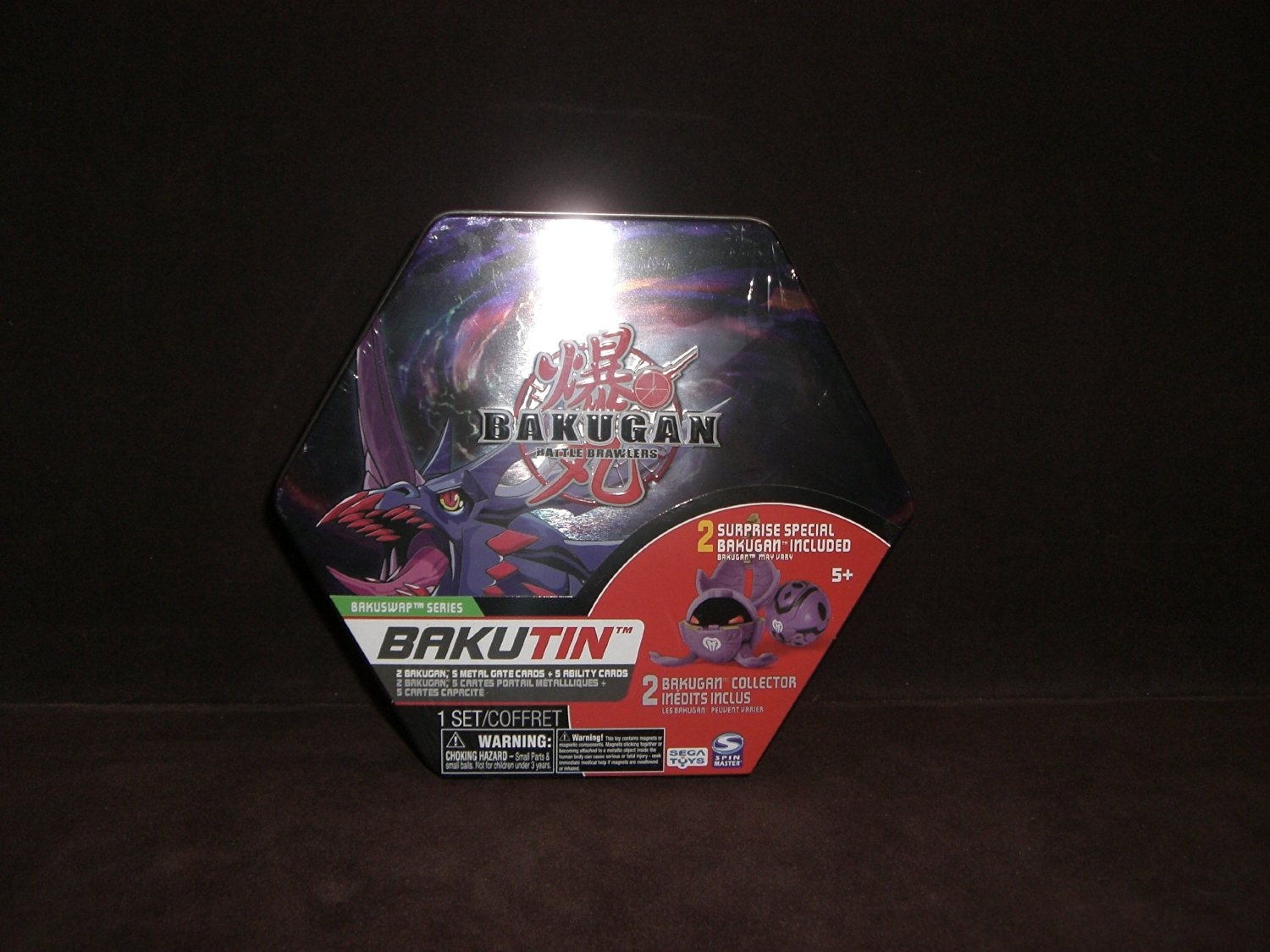 Bakugan Battle Brawlers Bakubronze Series Darkus (Black) Bakutin ~ Inside are 2 Collector Bakugan, 5 Ability Cards, 5 Metal Gate Cards and 2 Removable Trays~The Perfect place to store all of your Bakugan!