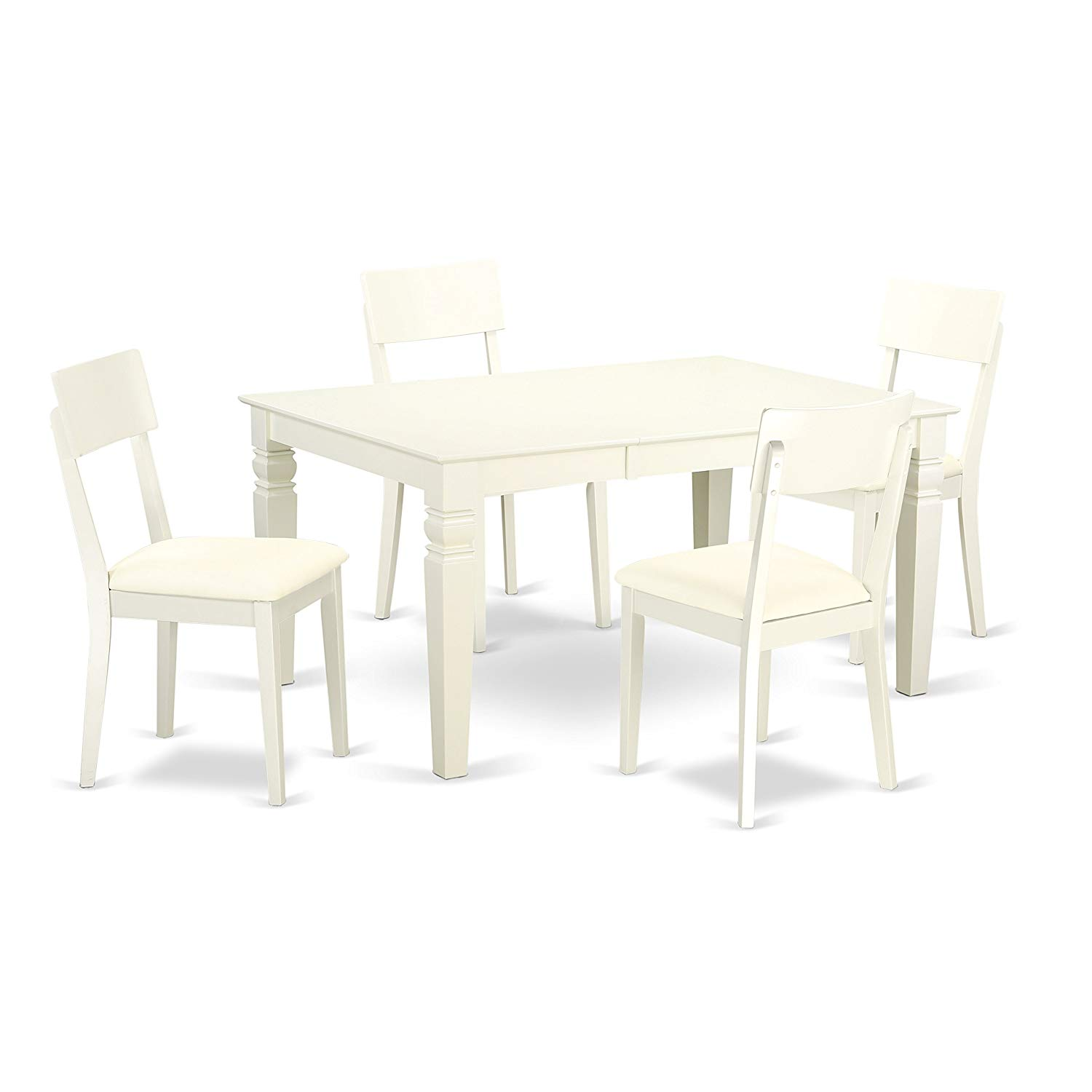 East West Furniture WEAD5-LWH-LC 5 Piece Dinette Set with One Weston Dining Room Table and 4 Solid Faux Leather Seat Chairs, Large, Linen White