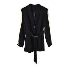 Женский короткий Блейзер [EAM], черный свободный блейзер с отложным воротником и длинным рукавом, весна-осень 2020, JU29801(Китай)