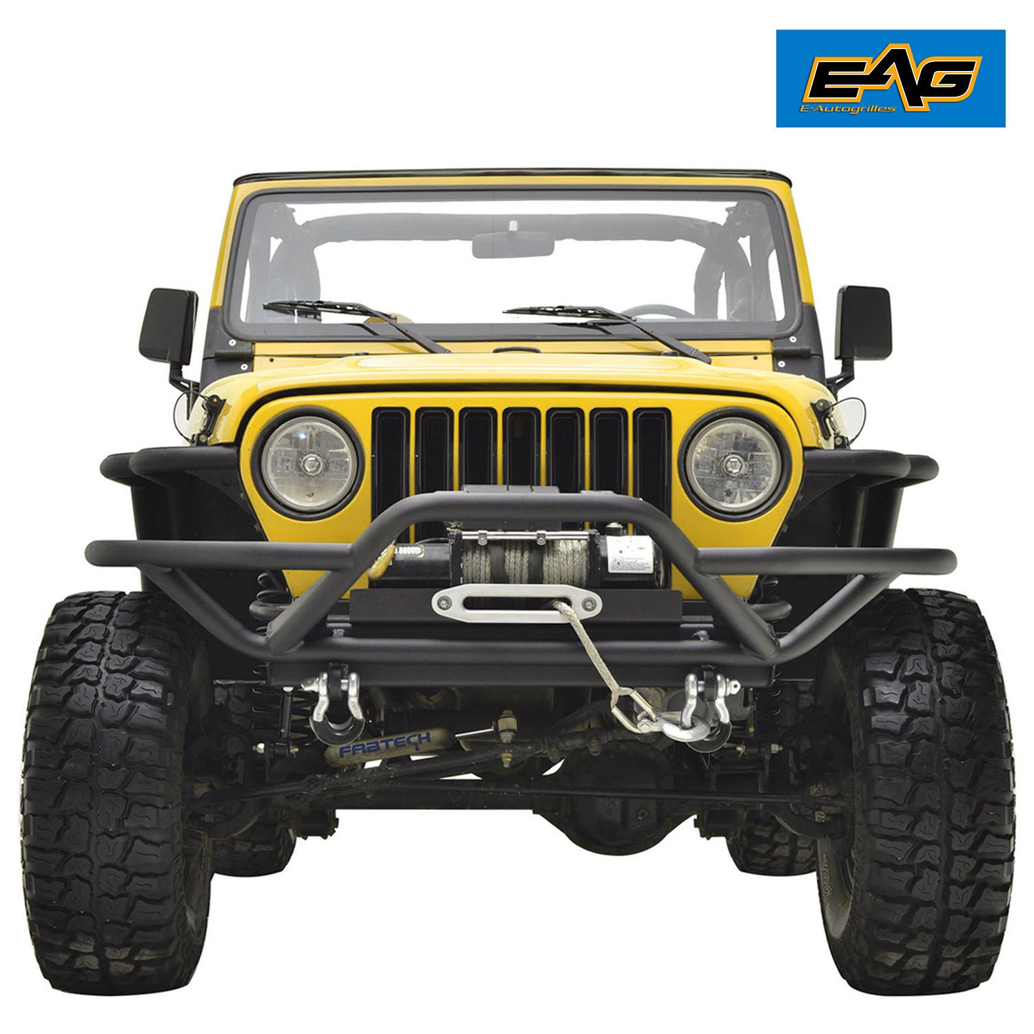 E-Autogrilles 87-06 Jeep Wrangler TJ YJ Tubular Off Road Front Bumper and Winch Plate Combo (51-0000+2801)