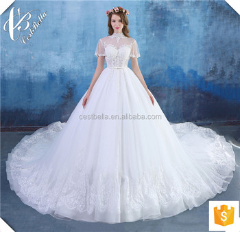 Robe de Mariage 2016 Luxury Pearls Beaded Sexy Ivory Lace Ball Gown Wedding Dresses with Long Tail