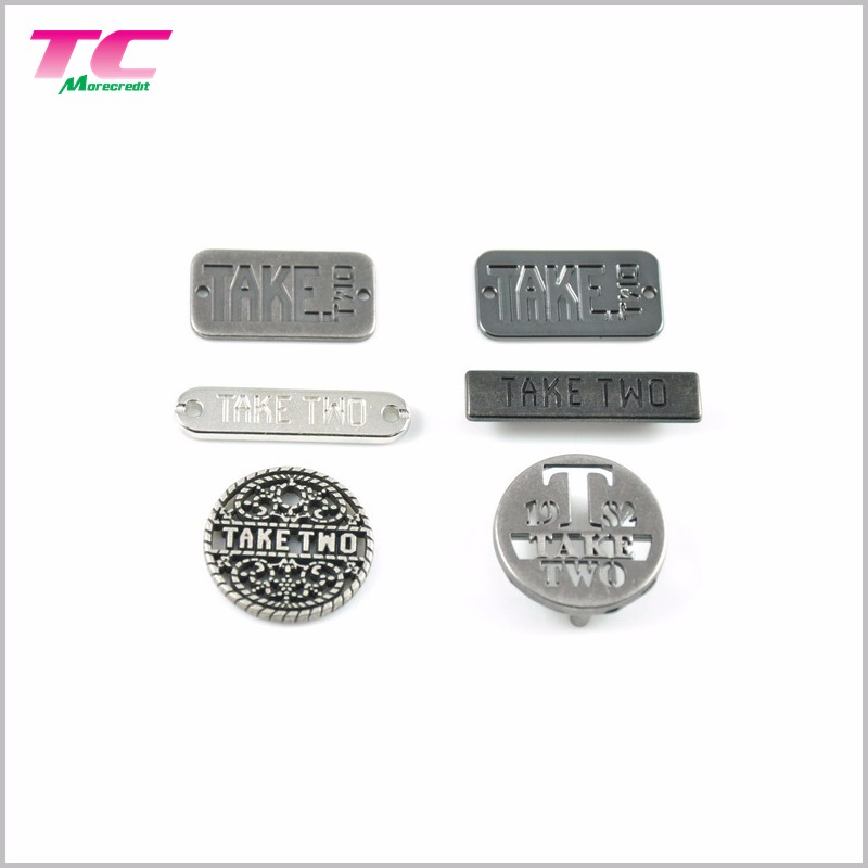 Metal Clothing Label Tag Printed Logo Metal Clothing Labels Directly Factory