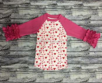 084811f3 wholesale girl icing ruffle shirt boutique girls icing raglan shirt with  prints heart fall icing raglan