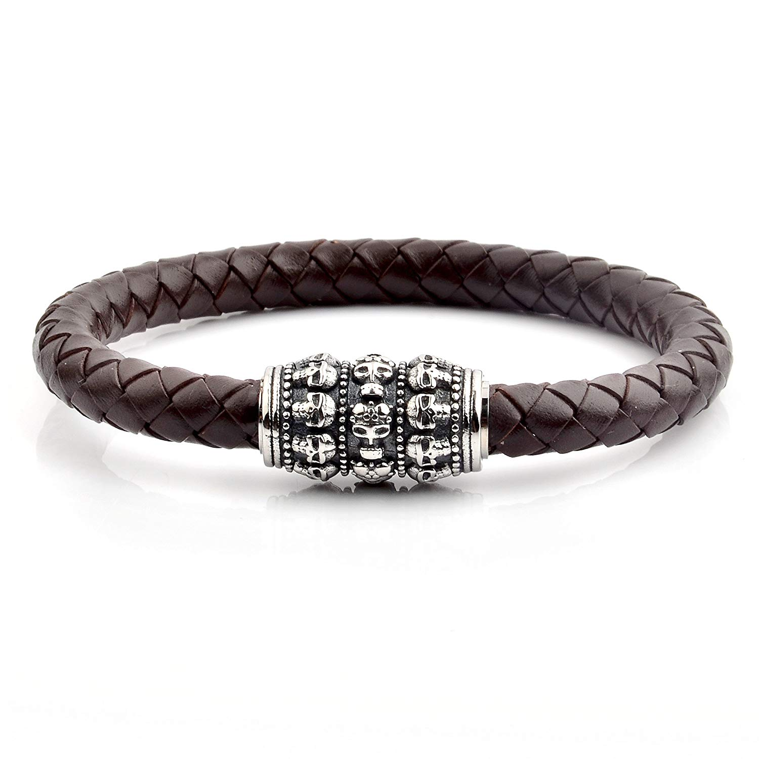 Crucible Antique Finished Stainless Steel Skull Bead Genuine Brown Leather Braided Bracelet (14mm Wide) - 8.5 inches Long