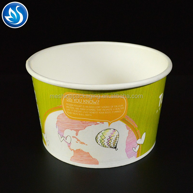 Disposable printed take away paper salad bowl with plastic lid