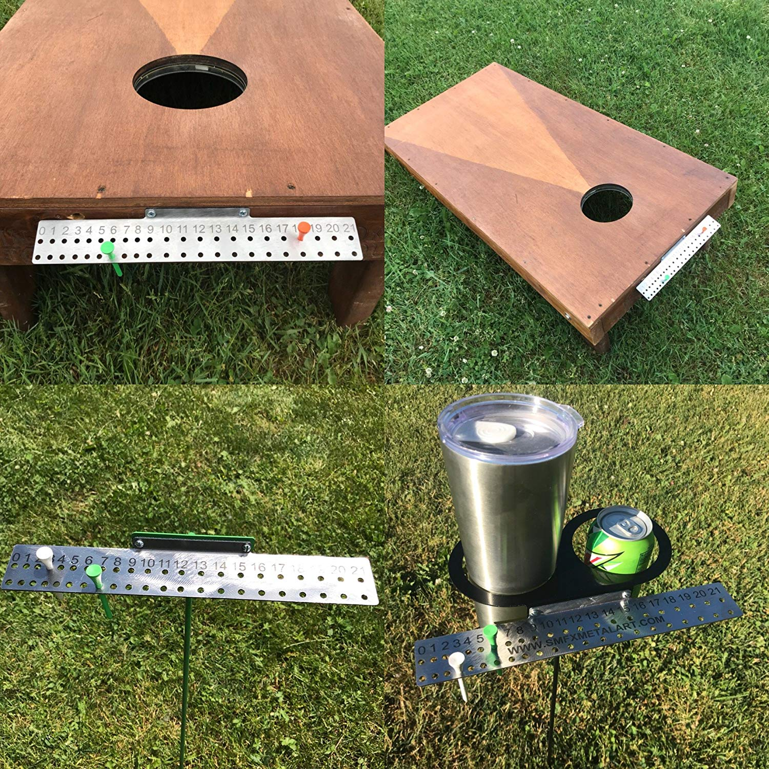 Premium Cornhole Scoreboard with Magnetic Score Keepers Mounts to Any Board