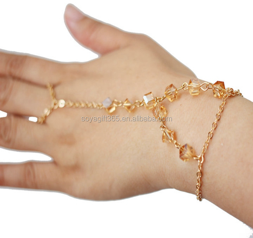 Charming Slave Chain Gold Link Finger Ring Hand Bracelet Product On Alibaba