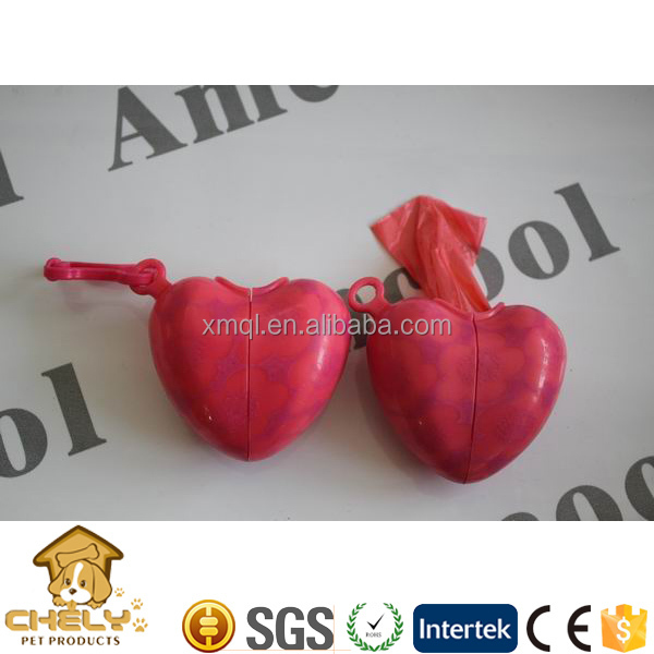 New style red heart shaped dog poop bag dispenser with cheap pricing