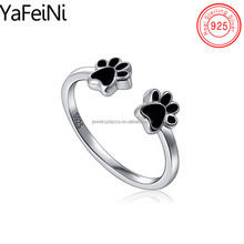 925 sterling silver animal paw print ring , adjustable black paw print sterling silver rings