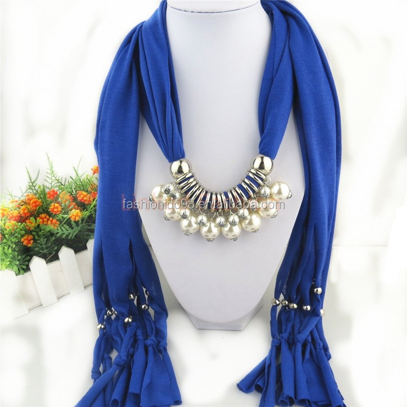 New design wild fashion jersey scarf with beads
