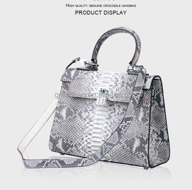 Witte lederen schoudertas : Luxe nieuwe mode witte kleur vrouwen hand tas echte python